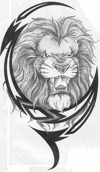 Тату льва эскиз с узором trable - ТАТУИРОВКИ ЛЬВА