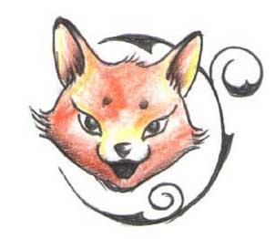 Эскиз татуировки лисицы с узором