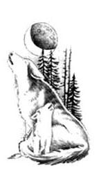 Волк воет на луну эскиз татуировки