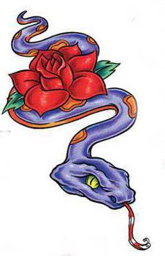 Эскиз тату змеи и розы