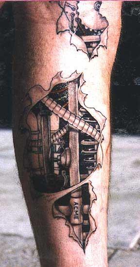 Татуировки колёса провода внутри тела