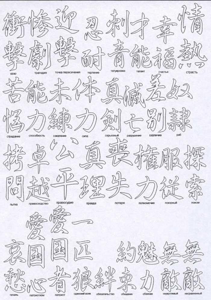 Иероглифы татуировки на русском языке