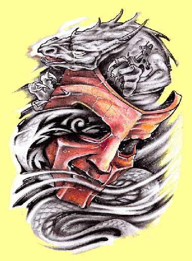 Серый дракон обвивает маску