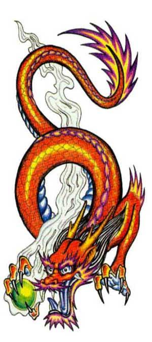 Оранжевый дракон со сферой в когтях