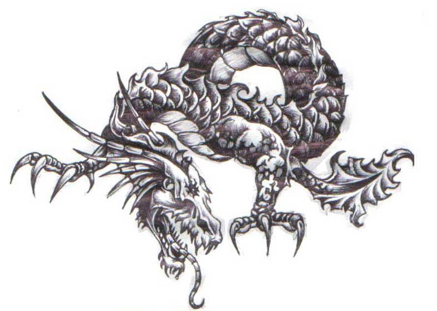 Черный дракон черно белые татуировки