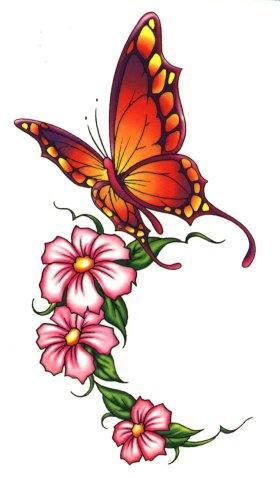 Эскиз татуировки большой бабочки с