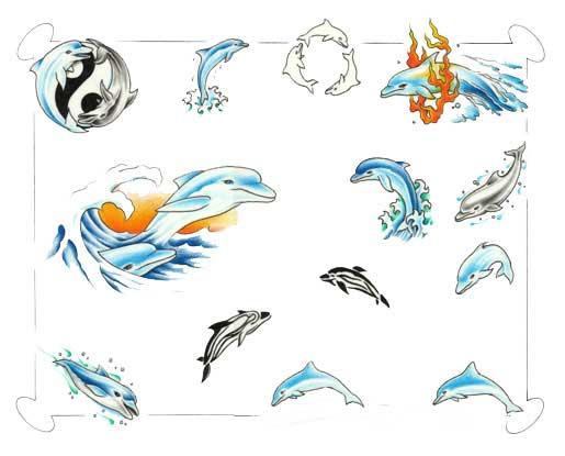 Много флешей татуировок дельфина