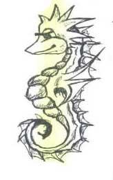 Эскиз татуировки морского конька